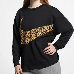 NWT womens Nike animal print swoosh sweatshirt